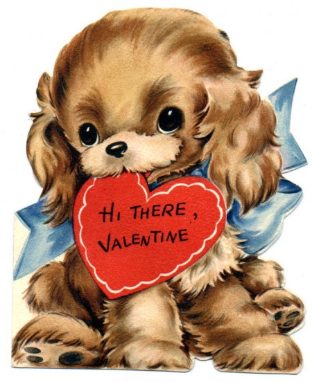 Vintage Valentine Day Puppy