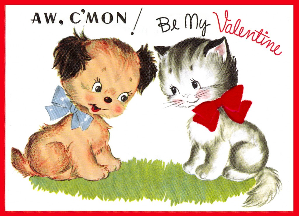 vintage puppy and kitten Valentine Day Greeting