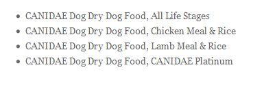Canidae Recall List