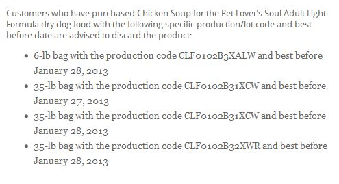 Chicken Soup for the Pet Lovers Soul Food Recall List