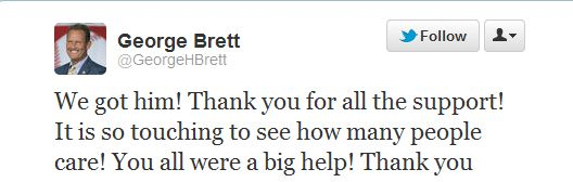 found Charlie Tweet from George Brett