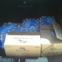 water, milk, and fruit cups in the trunk