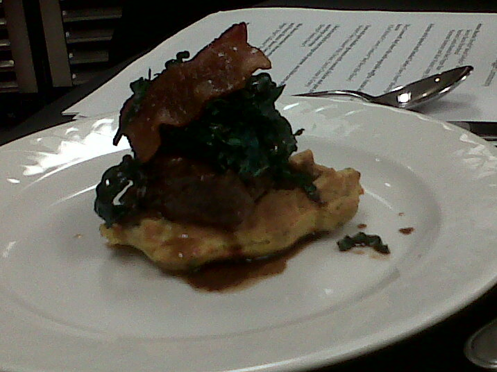 Beef Shortribs with vegetable waffles, Tuscan Kale and maple bacon