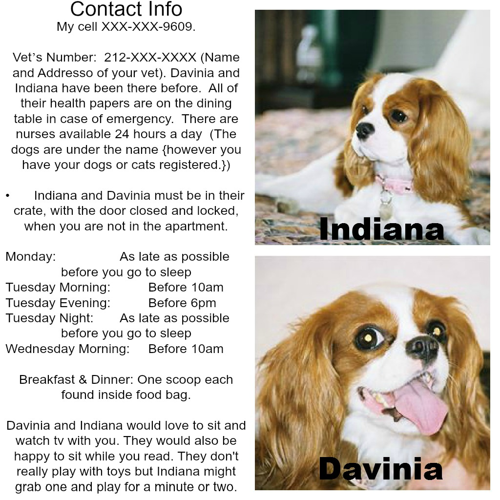 Instructions for your dog sitter