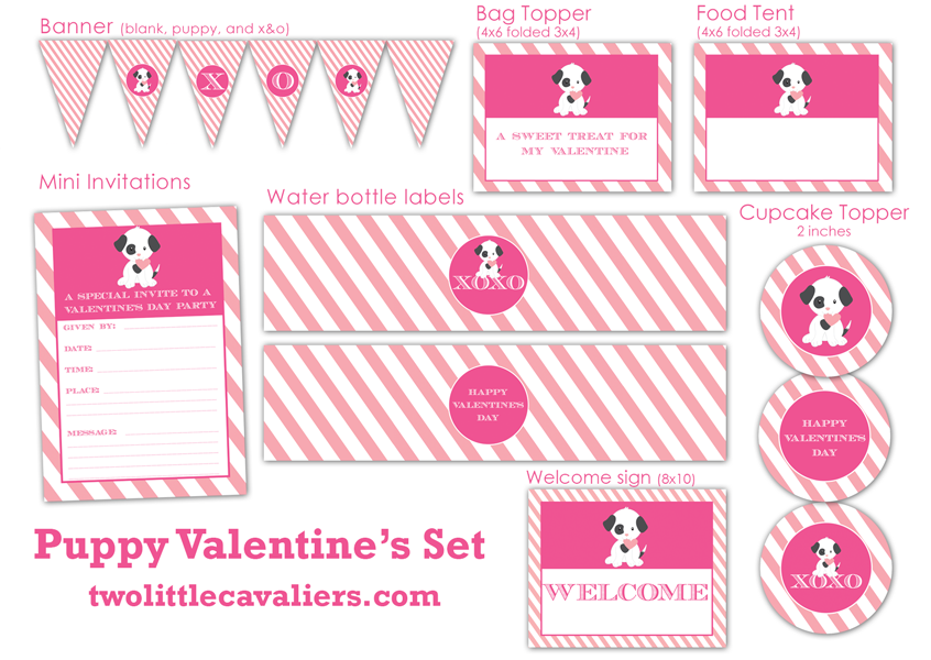 Puppy Valentine Printable Two Little Cavaliers