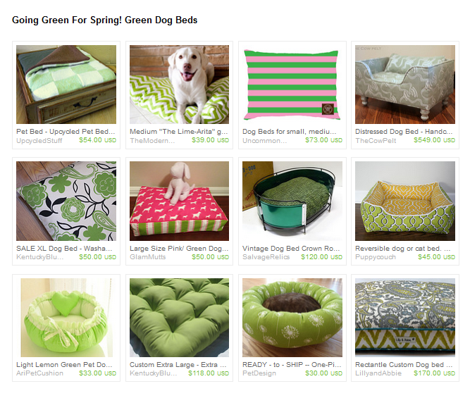 Going Green for Spring Dog Beds